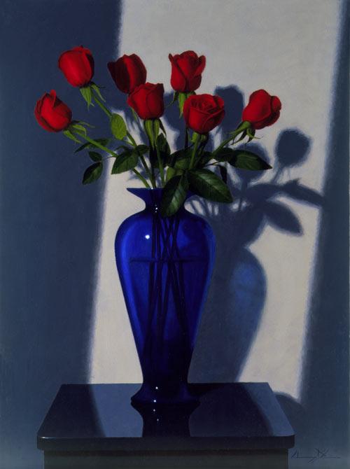 Original Oil Paintings Red Roses Blue Vase Still Life Realist