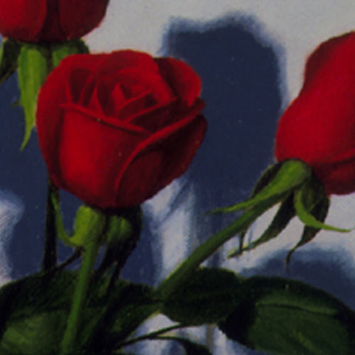 Original Oil Paintings Red Roses Blue Vase Detail Still Life